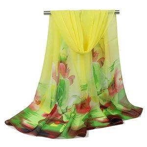Accessories - Pastel Yellow Chiffon Watercolor Wrap Scarf Shawl